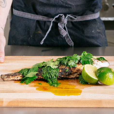 Whole Grilled Fish with Jalapeno Salsa Verde