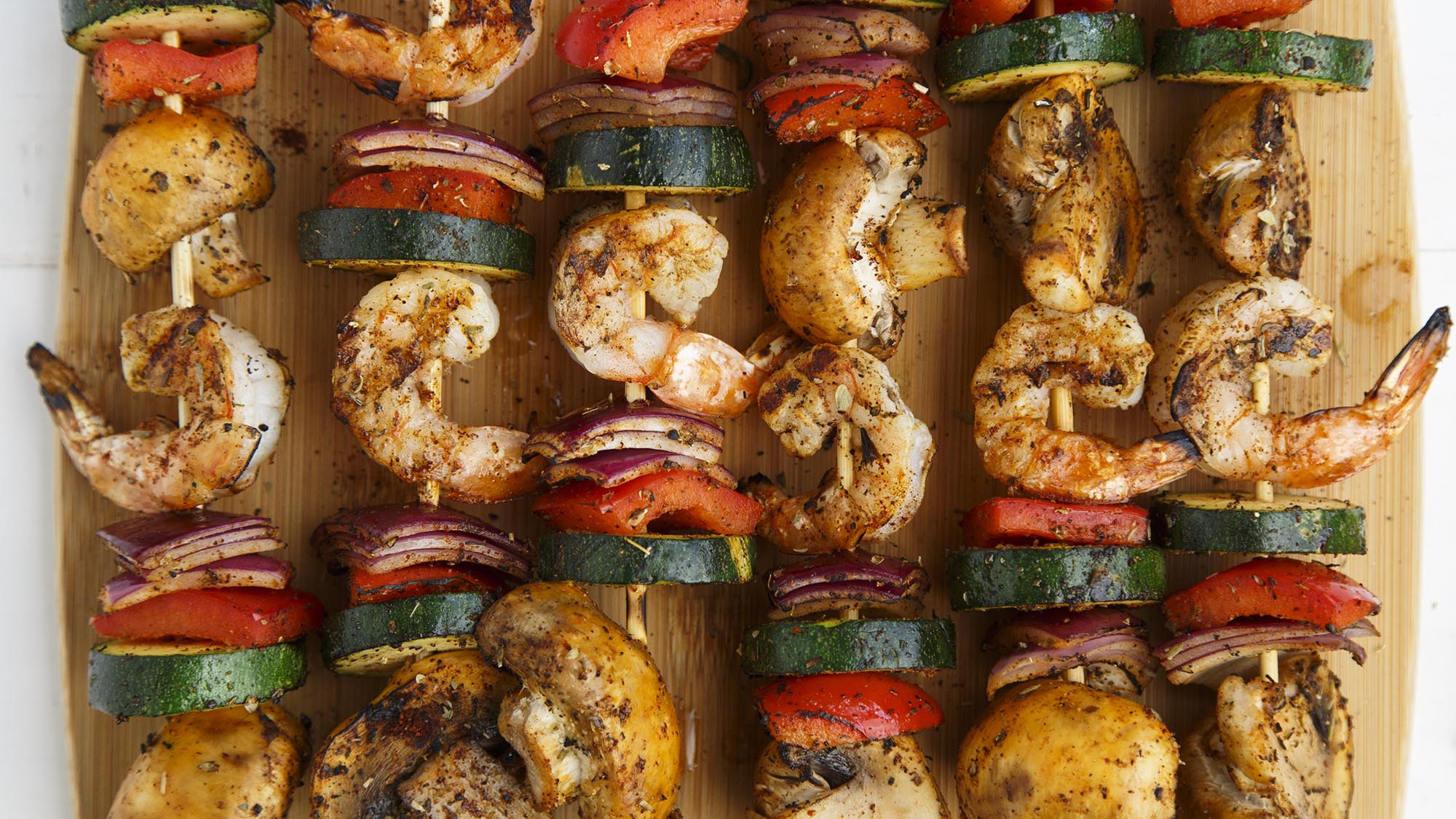 MEXICANA SHRIMP AND VEGETABLE KEBABS