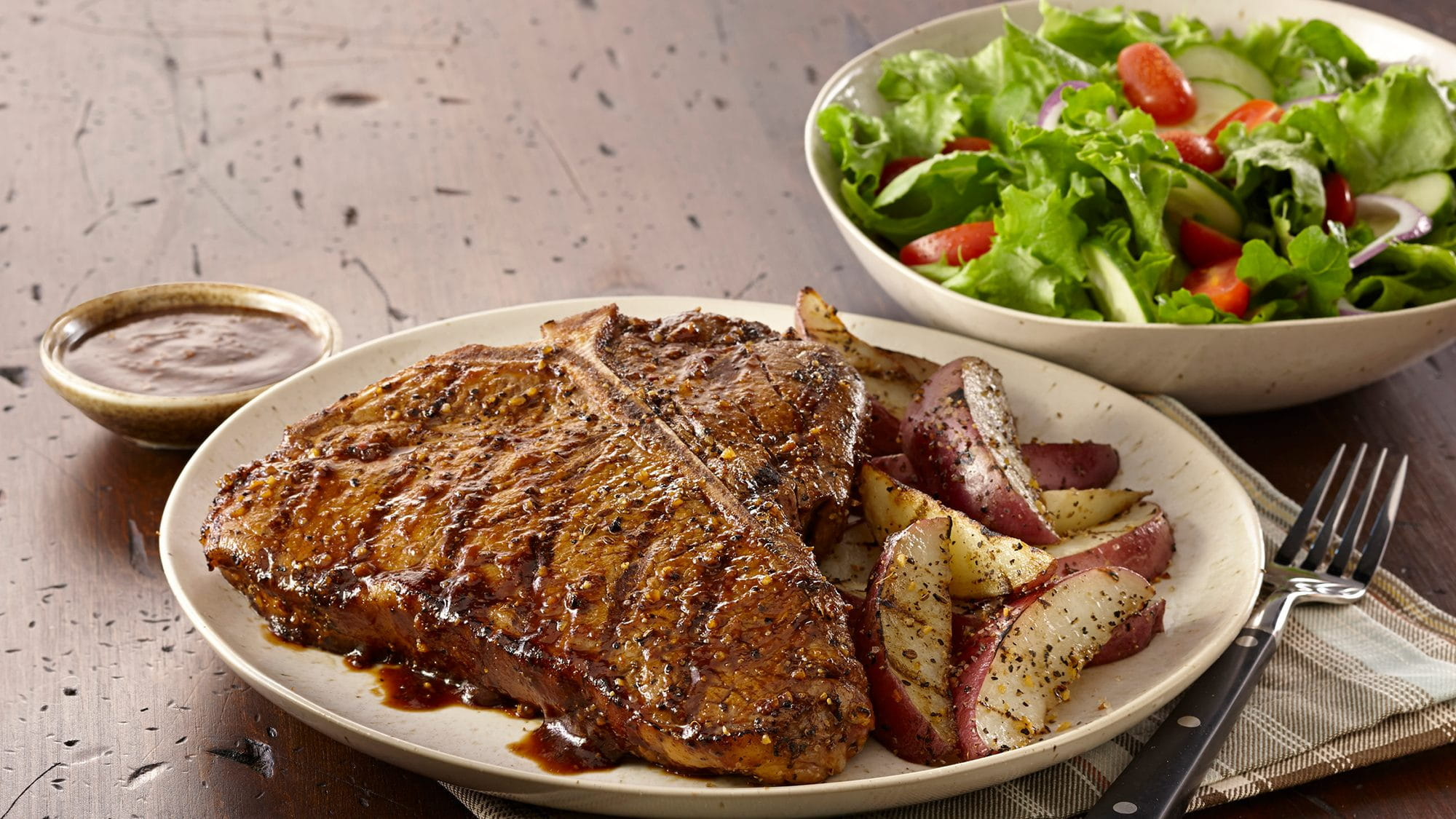 ULTIMATE MONTREAL STEAK WITH GRILLED POTATO WEDGES
