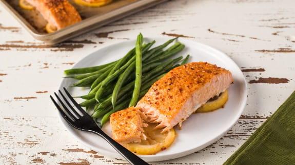 salmon dish on a kitchen table