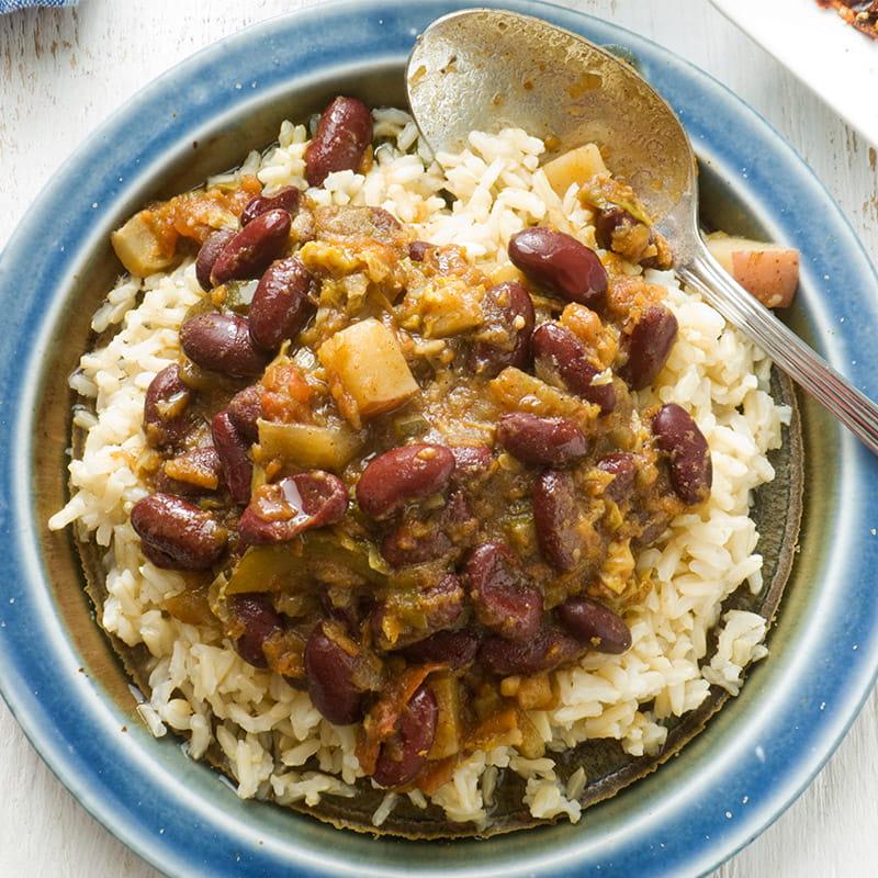 Bruine bonen met rijst