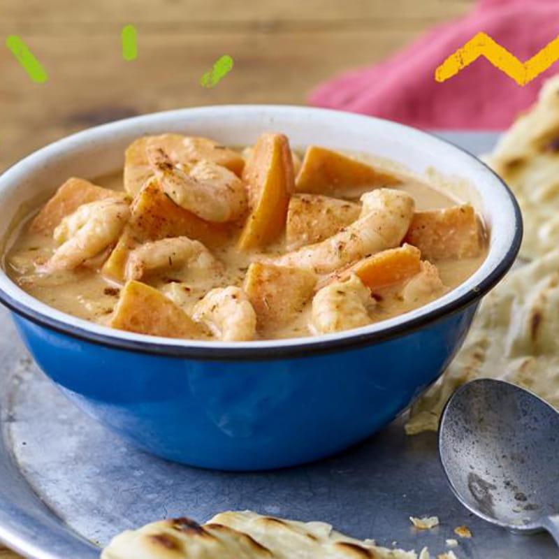 Caribische garnalen en zoete aardappel curry met Roti