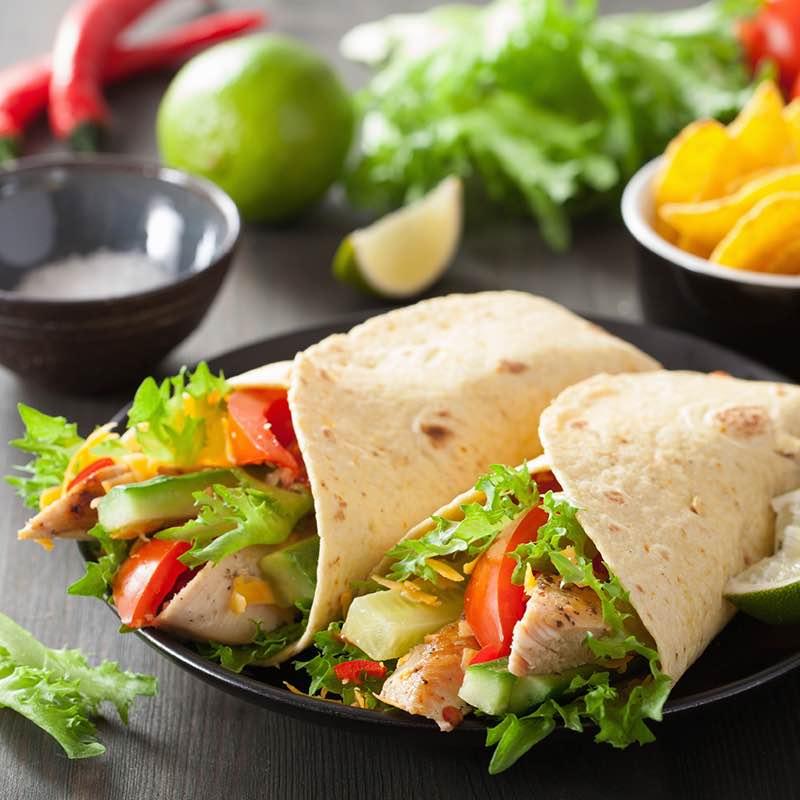 Wraps met gemengde salade