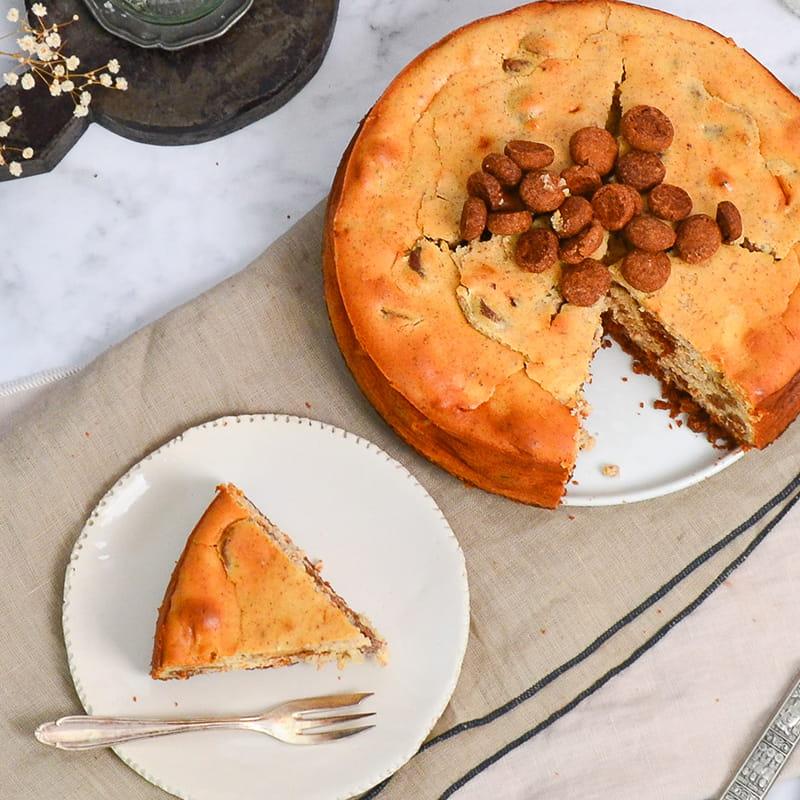 Cheesecake met een bodem van kruidnoten