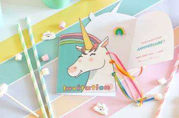 Atelier anniversaire : Invitations licorne