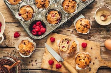 Muffins framboises et pépites de chocolat lait BIO