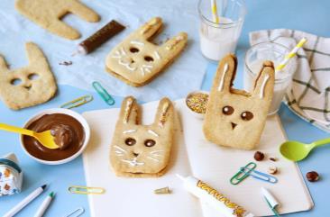 Kleine chocolade konijnenzandkoekjes